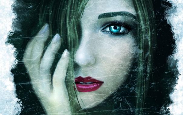 Фото обои девушка, лицо, рисунок, рука, арт, губы, ronindude