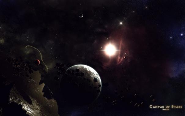 Фото обои звезда, свечение, астероиды