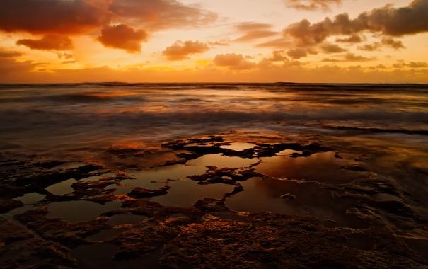 Фото обои море, небо, облака, закат, золотой