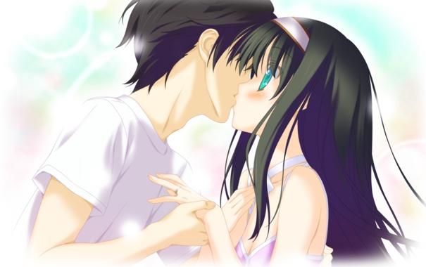 Фото обои девушка, поцелуй, аниме, арт, парень, irotoridori no sekai, shida kazuhiro