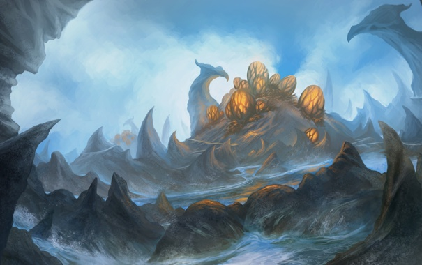 Фото обои горы, фантастика, скалы, яйца, арт