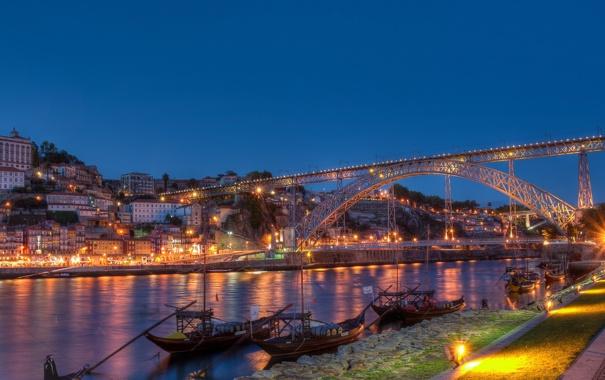 Фото обои мост, огни, река, дома, лодки, Португалия, Portugal