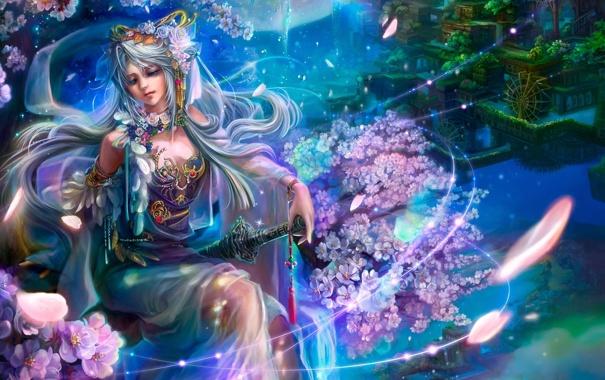 Фото обои девушка, украшения, цветы, город, меч, перья, сакура
