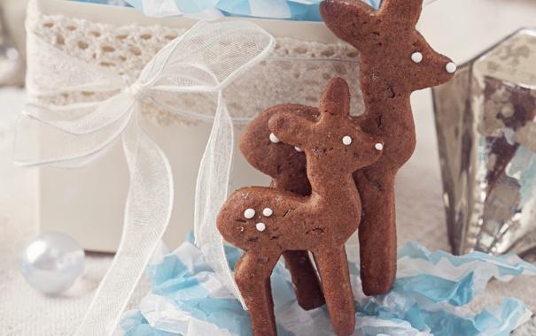 Фото обои праздник, Рождество, человечек, сладости, Новый год, Christmas, печенька
