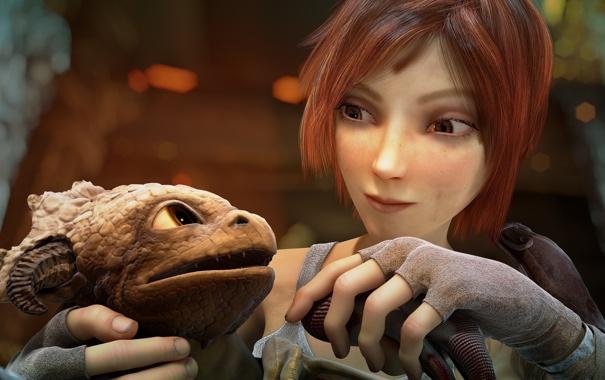 Фото обои девушка, мультфильм, детёныш, дракончик, Синтел, Чешуйчик, Scales