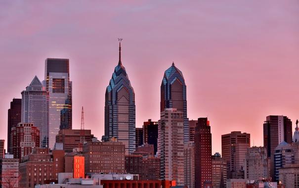 Фото обои город, рассвет, свечение, утро, USA, Филадельфия, небоскрёбы