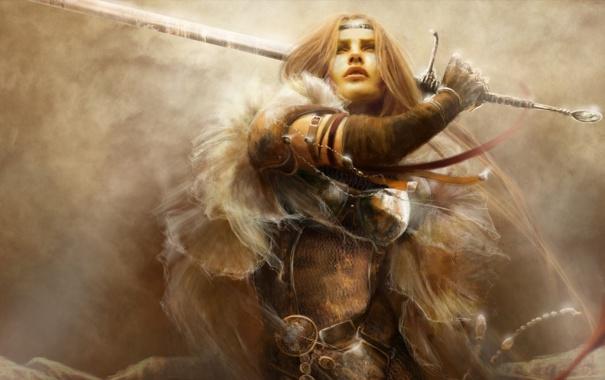 Фото обои взгляд, украшения, Девушка, меч, доспехи, замах