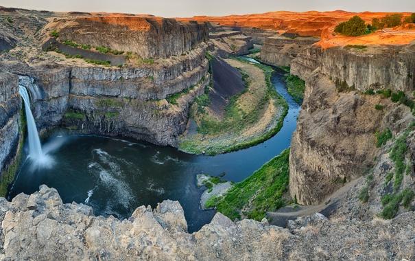 Фото обои горы, река, скалы, водопад, каньон
