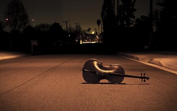 Фото обои дорога, асфальт, ночь, музыка, одиночество, настроение, улица