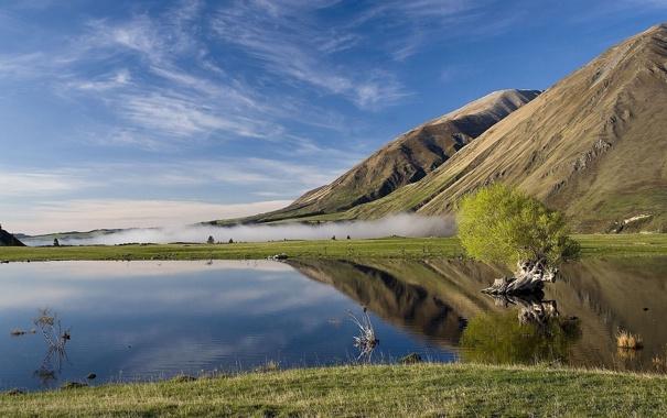 Фото обои трава, облака, туман, озеро, отражение, дерево, гора