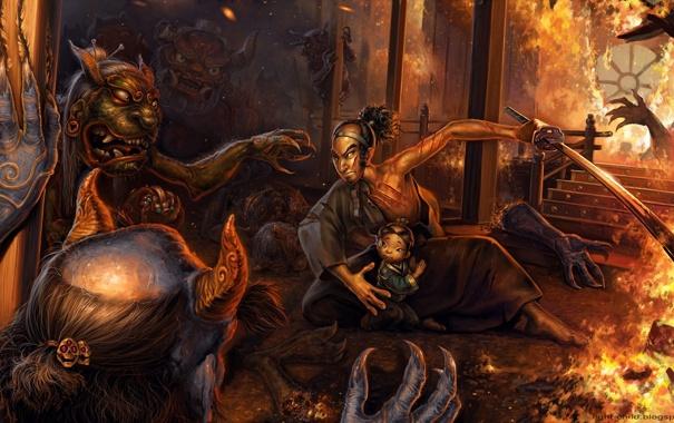 Фото обои ночь, дом, пожар, огонь, ребенок, меч, защита