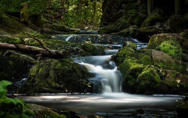 Фото обои ручей, камни, водопад, мох, речка, Швеция, Sweden