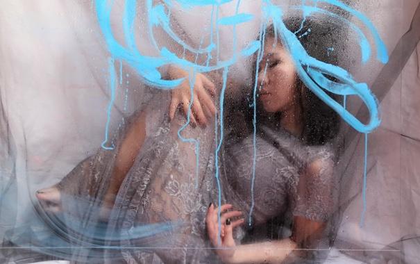 Фото обои стекло, девушка, фон