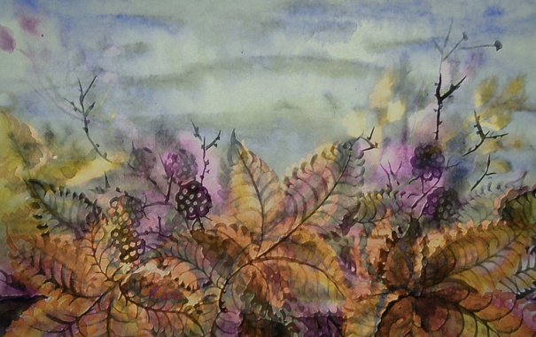 Фото обои осень, листья, стиль, ягоды, стебли, рисунок