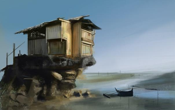 Фото обои вода, пейзаж, озеро, дом, река, лодка, арт