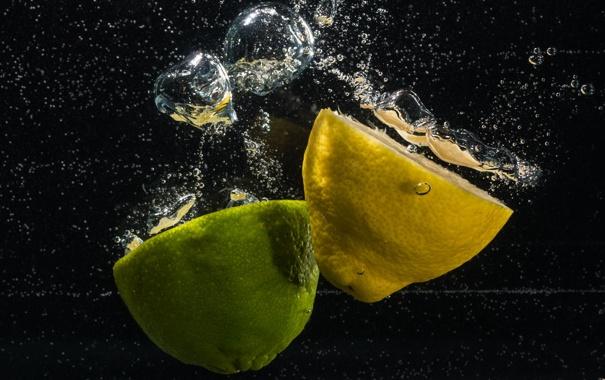 Фото обои вода, пузырьки, обои, лимон, лайм