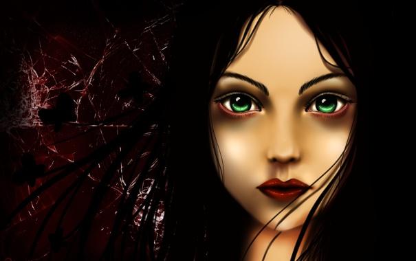 Фото обои взгляд, стекло, волосы, Игра, арт, Алиса, зеленые глаза