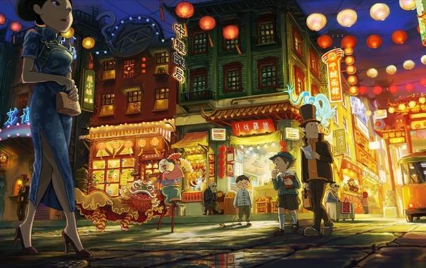Фото обои улица, чайнатаун, professor layton