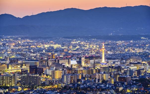 Фото обои ночь, город, фото, дома, Япония, Kyoto, мегаполис