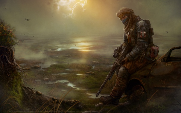 Фото обои рисунок, болото, арт, мужчина, art, снайперская винтовка, Eagle Eye