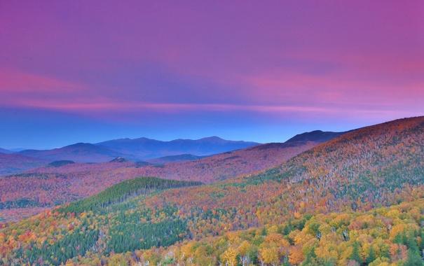 Фото обои осень, лес, небо, горы, склон, зарево