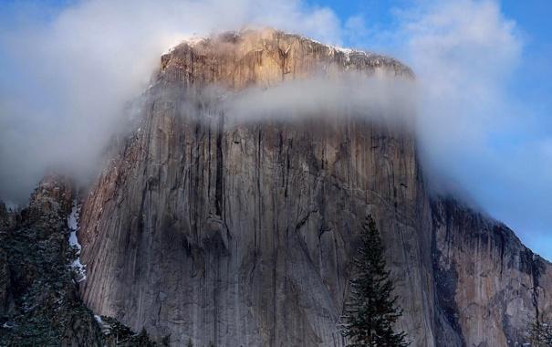 Фото обои небо, облака, горы, скала, дерево