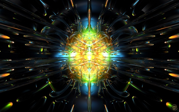 Фото обои свет, центр, Glass Blast