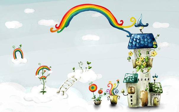 Фото обои облака, цветы, фантазия, лестница, домики, радуги