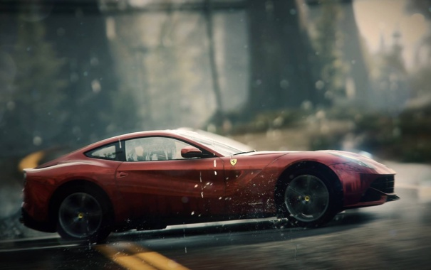 Фото обои дорога, фон, гонка, размытие, Need for Speed Rivals, Ferrari F12 Berlinetta