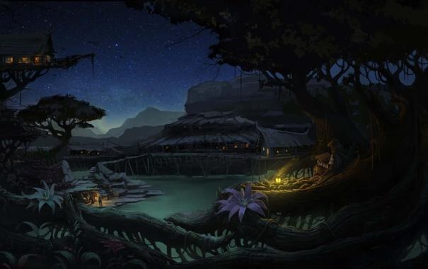 Фото обои деревья, цветы, ночь, корни, дома, арт, фонарь