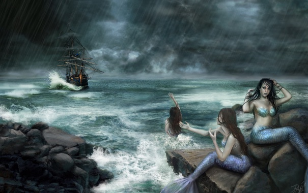Фото обои море, камни, фантастика, океан, корабль, арт, русалки