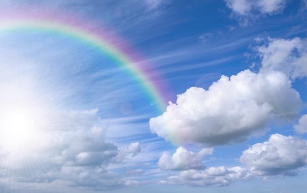 Фото обои небо, облака, природа, радуга, rainbow, sky, nature