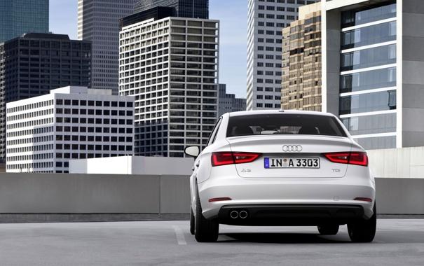 Фото обои Audi, Ауди, Город, Белый, Машина, День, Здания