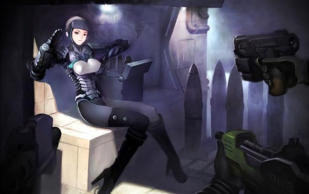 Фото обои девушка, оружие, руки, арт, прицел, сидя, снаряды