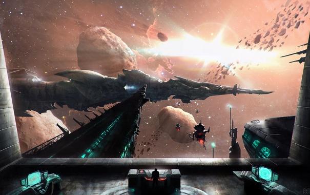 Фото обои космос, звезды, дроиды, корабли, астероиды, палуба