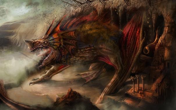 Фото обои скала, замок, дракон, гора, монстр, защита, арт