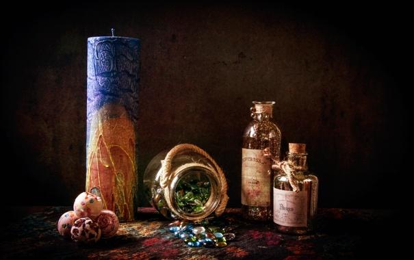 Фото обои свеча, конфеты, банка, леденцы, натюрморт