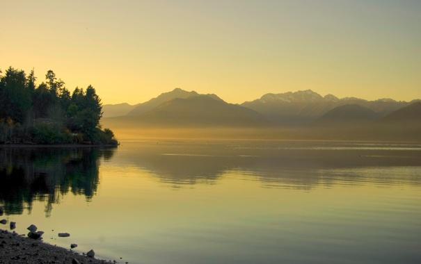 Фото обои лес, пейзаж, горы, природа, река, фон, рассвет