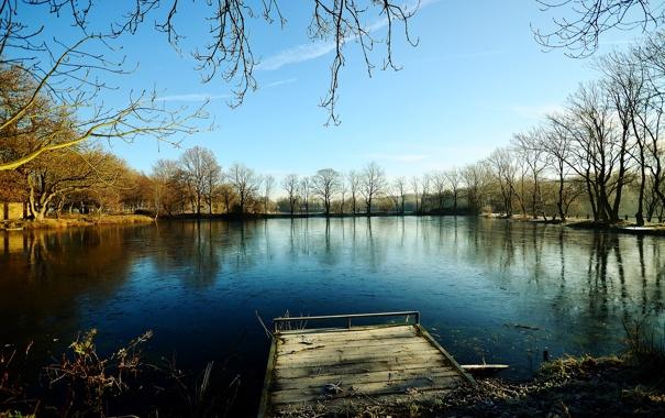 Фото обои лед, осень, небо, деревья, пруд, мороз, мостик