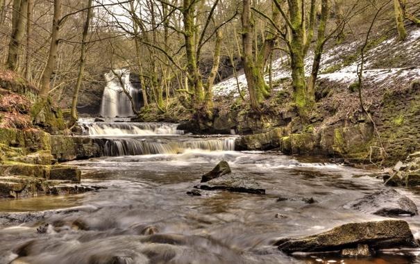 Фото обои зима, лес, река, камни, водопад, каскад