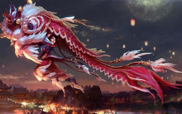 Фото обои девушка, ночь, праздник, дракон, азия, кукла, арт