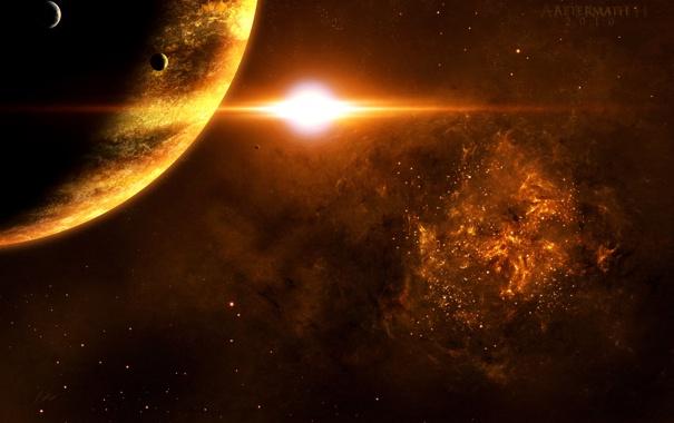 Фото обои планета, луны, огромная
