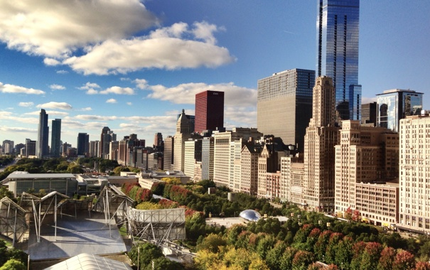 Фото обои небоскребы, Чикаго, USA, Chicago, мегаполис, illinois