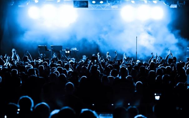 Фото обои lights, blue, people, concert, shades