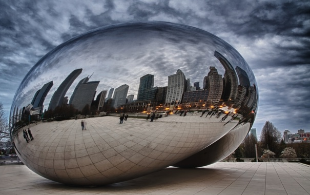 Фото обои Чикаго, Chicago, millennium park, Spaceship Earth