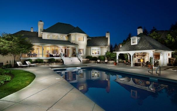Фото обои pool, night, luxury home