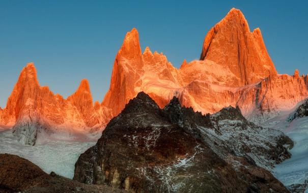 Фото обои небо, закат, горы, вершины, цвет, пик