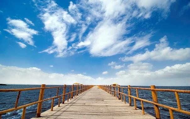 Фото обои облака, вода, небо, пирс, море