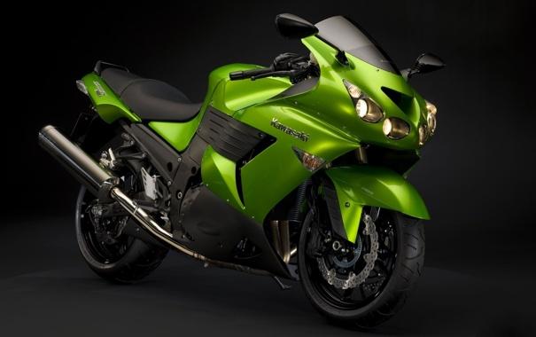 Фото обои Черный, Зеленый, Мотоцикл, Фон, Мото, Kawasaki, ZX14