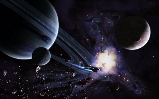 Фото обои космос, планеты, space, art